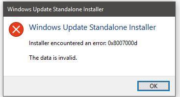 Instalační program služby Windows Update Offline zaznamenal chybu 0x8007000d, data jsou neplatná