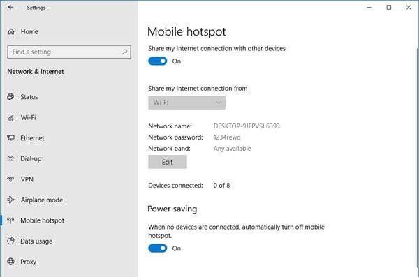 Comment empêcher Mobile Hotspot de s'éteindre dans Windows 10