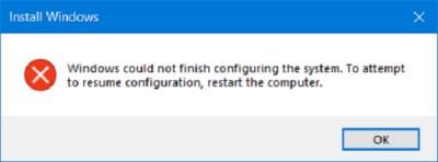 Systém Windows nemohl dokončit konfiguraci systému