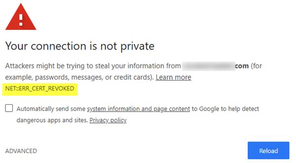 Le certificat du serveur a été révoqué ERR_CERT_REVOKED! Et ensuite?