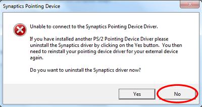 Es kann keine Verbindung zum Synaptics Pointing Device Driver hergestellt werden