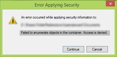 No se pudieron enumerar los objetos en el contenedor, se deniega el acceso