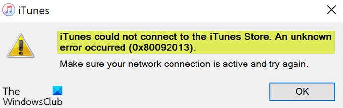 Unbekannter Fehler aufgetreten (0x80092013) - iTunes Store unter Windows 10