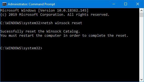 Winsocki lähtestamine Windows 10-s
