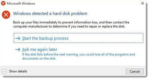 Windows je otkrio problem s tvrdim diskom