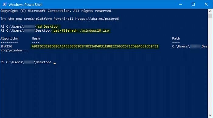 Sådan verificeres Windows 10 ISO-filhash ved hjælp af PowerShell
